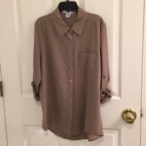 Body Central Taupe gold buttons Collared shirt M